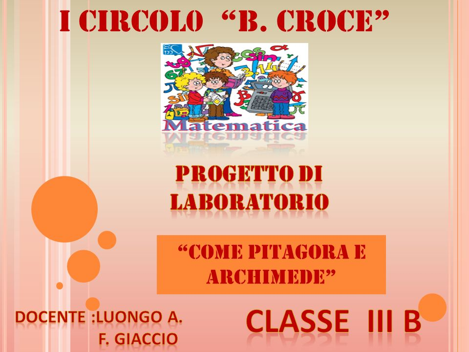 I Circol0 B. Croce COME PITAGORA E ARCHIMEDE