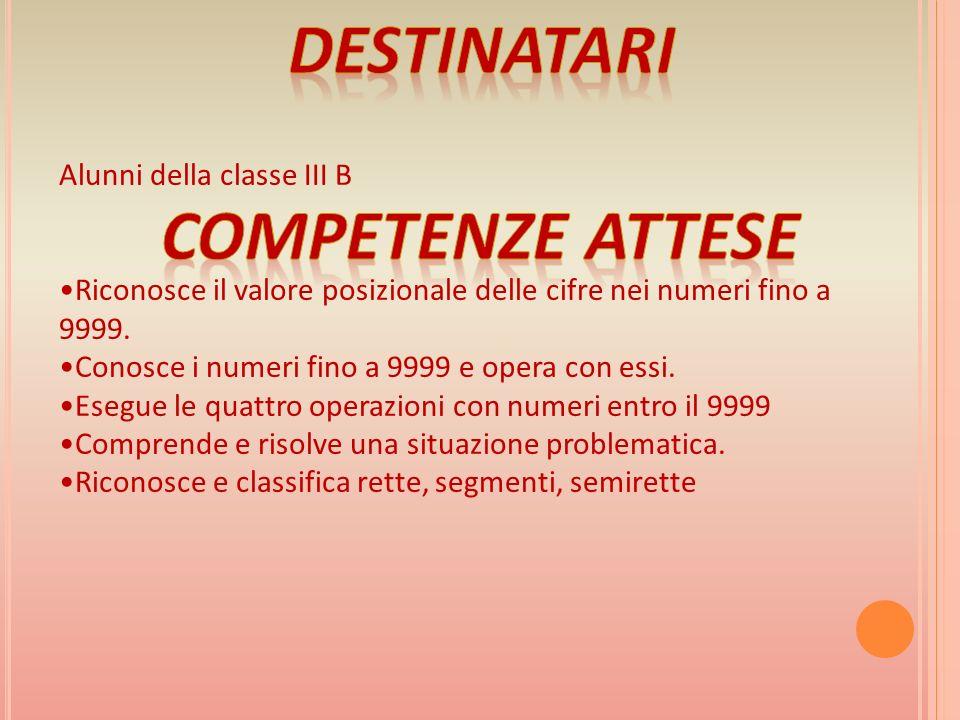 Alunni della classe III B Riconosce il valore posizionale delle cifre nei numeri fino a 9999.