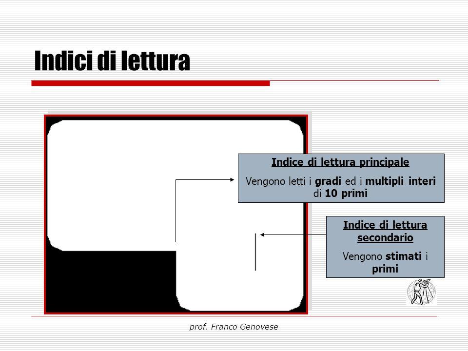 Indici di lettura prof. Franco Genovese Indice di lettura principale Vengono letti i gradi ed i multipli interi di 10 primi Indice di lettura secondar