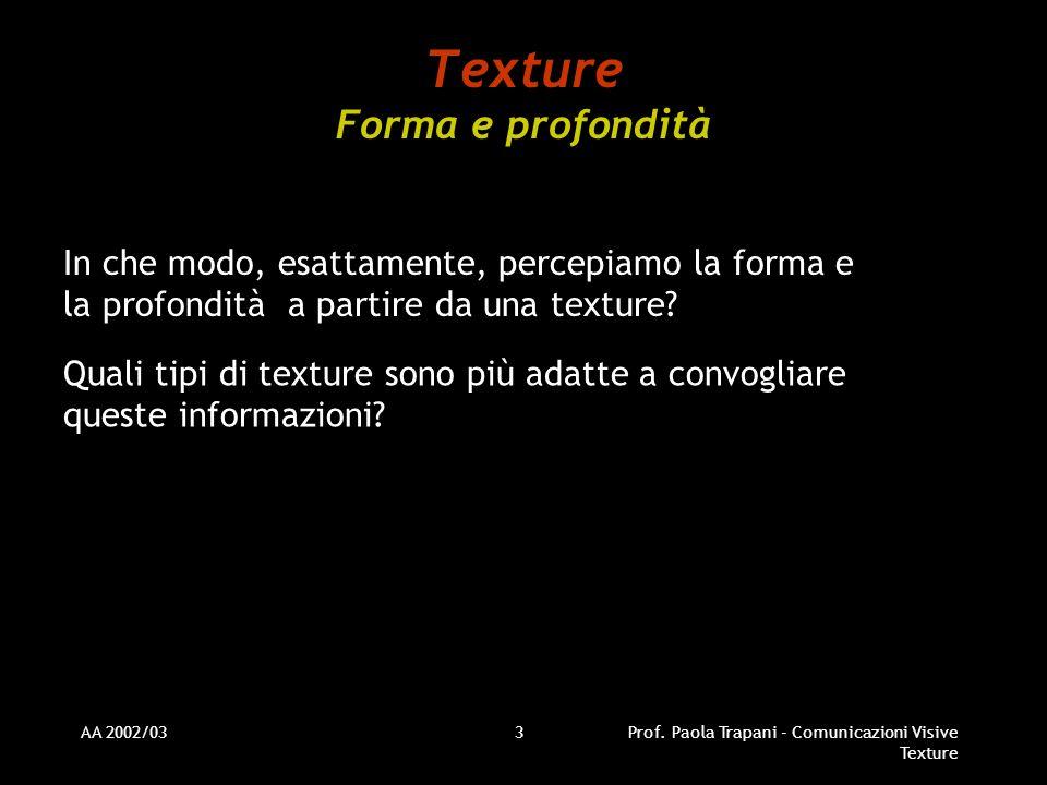 AA 2002/03Prof. Paola Trapani - Comunicazioni Visive Texture 3 Texture Forma e profondità In che modo, esattamente, percepiamo la forma e la profondit