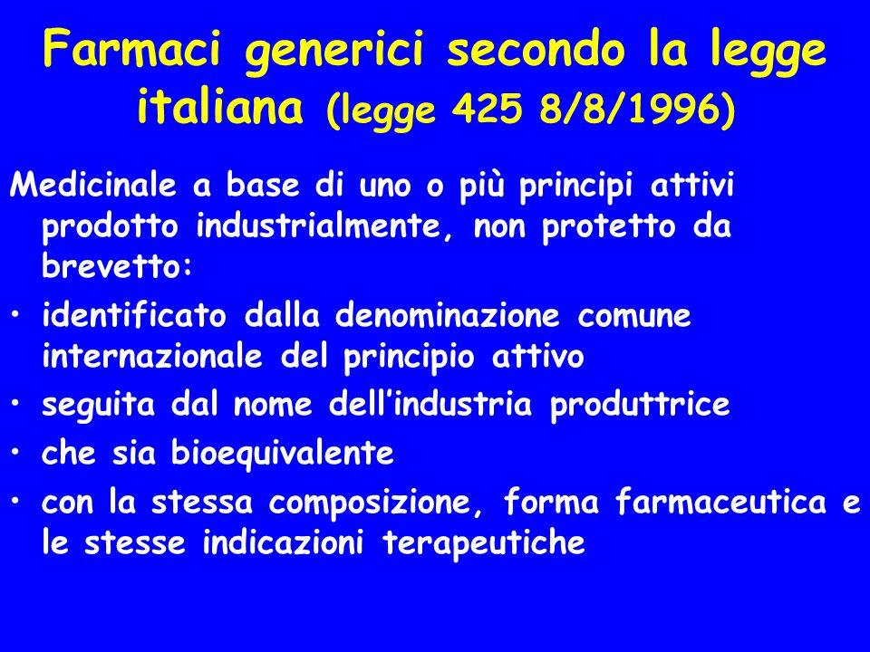 Farmaci generici secondo lOMS (WHO) Il generico è un medicinale intercambiabile con il prodotto innovatore, che viene posto in commercio dopo la scade