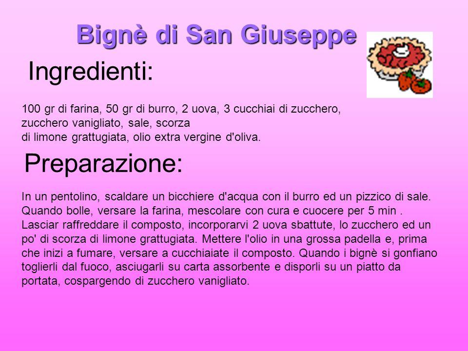 Bignè di San Giuseppe 100 gr di farina, 50 gr di burro, 2 uova, 3 cucchiai di zucchero, zucchero vanigliato, sale, scorza di limone grattugiata, olio