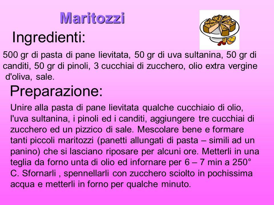 Maritozzi Ingredienti: 500 gr di pasta di pane lievitata, 50 gr di uva sultanina, 50 gr di canditi, 50 gr di pinoli, 3 cucchiai di zucchero, olio extr