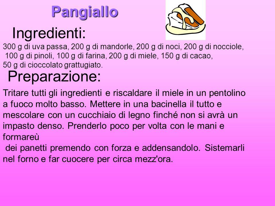 Pangiallo Ingredienti: 300 g di uva passa, 200 g di mandorle, 200 g di noci, 200 g di nocciole, 100 g di pinoli, 100 g di farina, 200 g di miele, 150