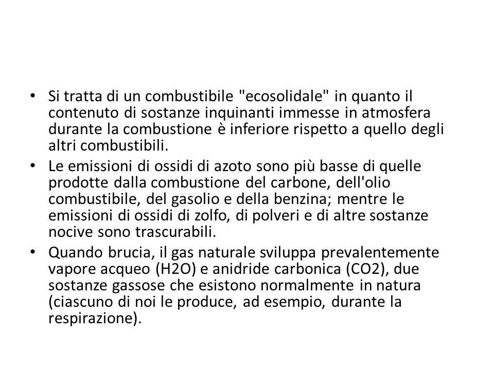 In ogni caso, a parità di energia prodotta, il gas naturale produce meno anidride carbonica (mediamente dal 25 al 40%) rispetto ad altri combustibili o carburanti di origine fossile come la benzina e il gasolio.