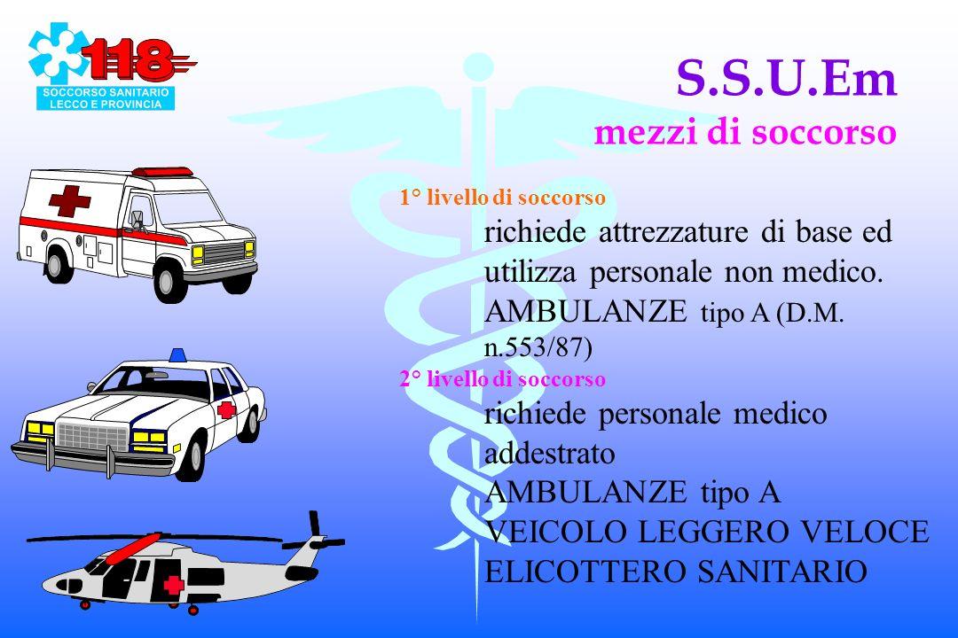 S.S.U.Em mezzi di soccorso 1° livello di soccorso richiede attrezzature di base ed utilizza personale non medico.