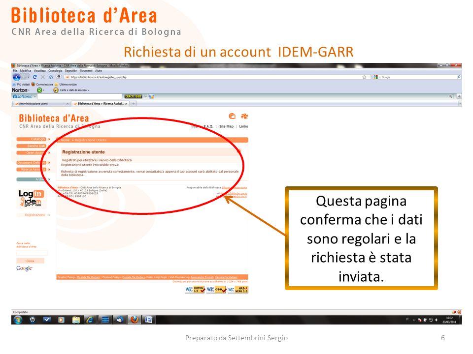 6 Questa pagina conferma che i dati sono regolari e la richiesta è stata inviata.
