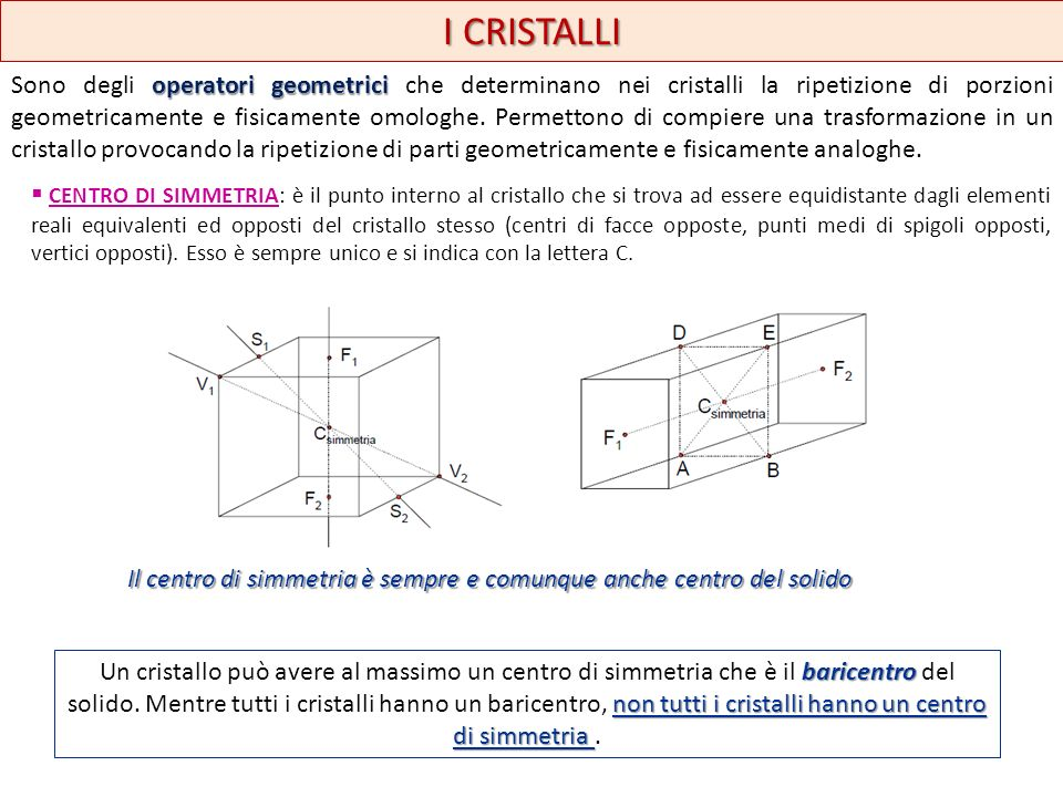 I CRISTALLI operatori geometrici Sono degli operatori geometrici che determinano nei cristalli la ripetizione di porzioni geometricamente e fisicament