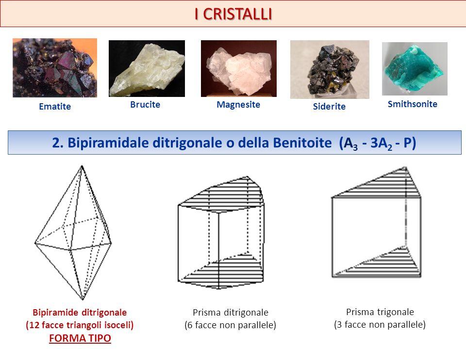 I CRISTALLI Ematite Brucite Magnesite Siderite Smithsonite 2. Bipiramidale ditrigonale o della Benitoite (A 3 - 3A 2 - P) Bipiramide ditrigonale (12 f