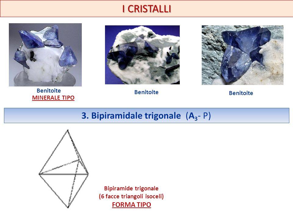 I CRISTALLI Benitoite 3. Bipiramidale trigonale (A 3 - P) Bipiramide trigonale (6 facce triangoli isoceli) FORMA TIPO MINERALE TIPO