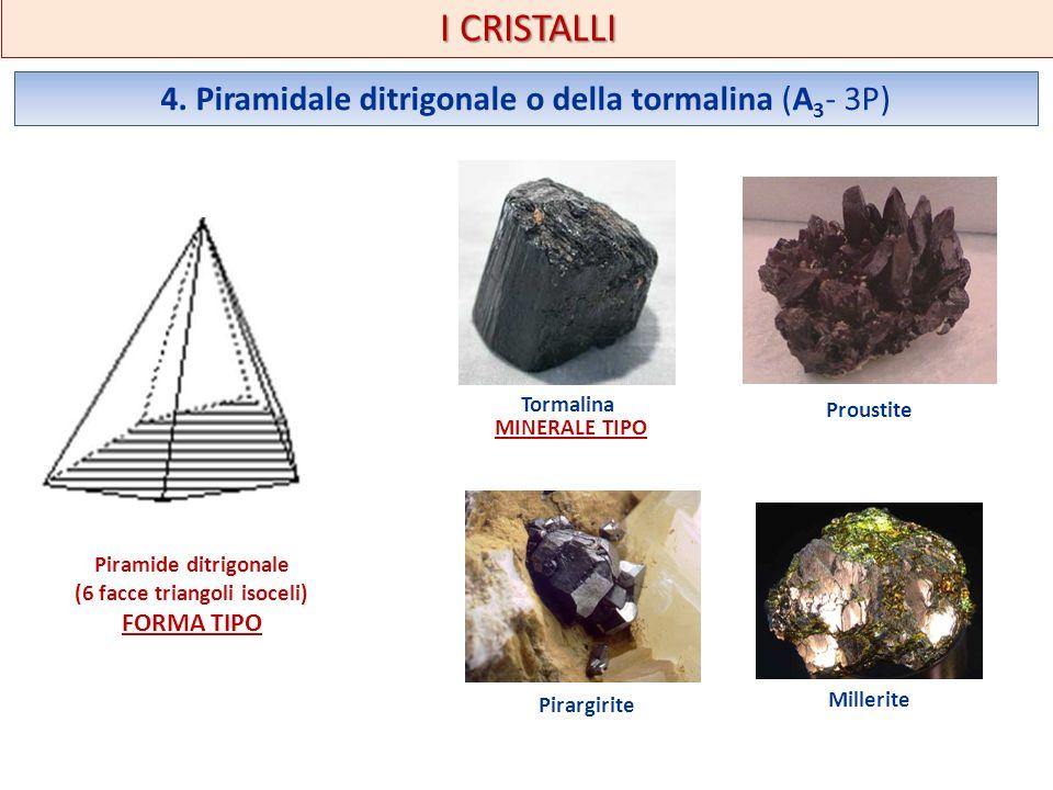 I CRISTALLI 4. Piramidale ditrigonale o della tormalina (A 3 - 3P) Piramide ditrigonale (6 facce triangoli isoceli) FORMA TIPO Tormalina MINERALE TIPO
