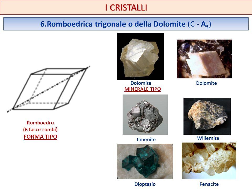 I CRISTALLI 6.Romboedrica trigonale o della Dolomite (C - A 3 ) Romboedro (6 facce rombi) FORMA TIPO Dolomite Ilmenite Willemite DioptasioFenacite MIN
