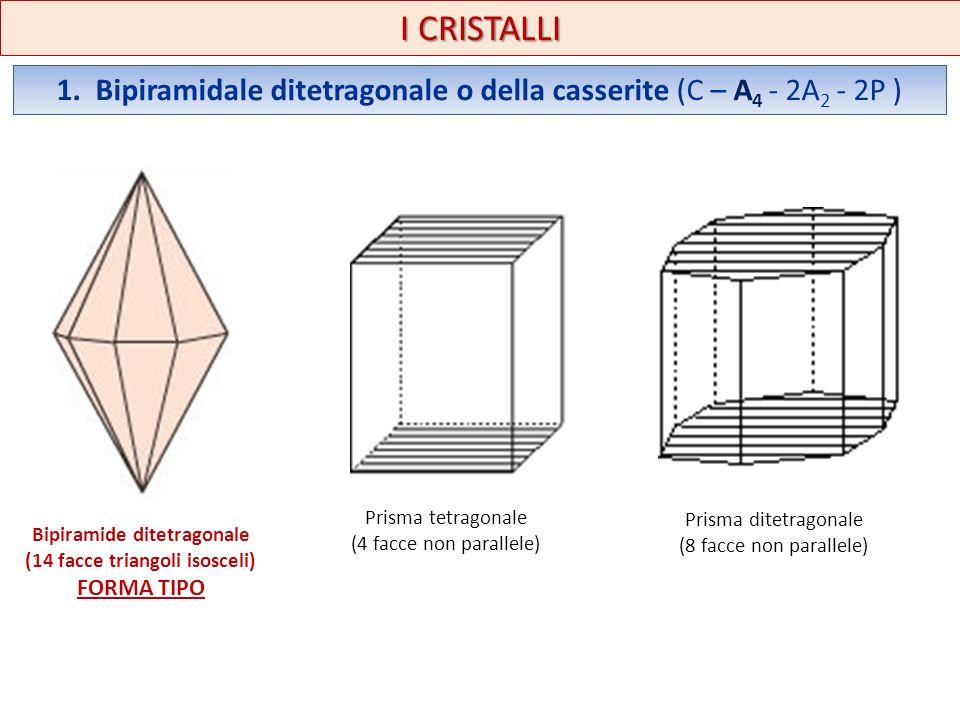 I CRISTALLI 1. Bipiramidale ditetragonale o della casserite (C – A 4 - 2A 2 - 2P ) Bipiramide ditetragonale (14 facce triangoli isosceli) FORMA TIPO P