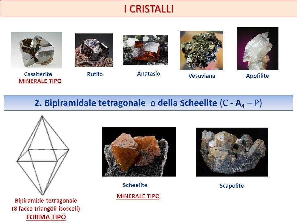 I CRISTALLI CassiteriteRutilo Anatasio VesuvianaApofilite MINERALE TIPO 2. Bipiramidale tetragonale o della Scheelite (C - A 4 – P) Bipiramide tetrago
