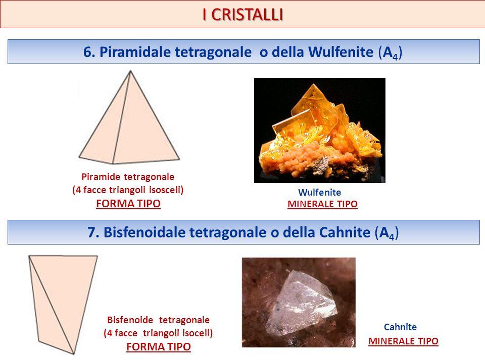 6. Piramidale tetragonale o della Wulfenite (A 4 ) I CRISTALLI Piramide tetragonale (4 facce triangoli isosceli) FORMA TIPO Wulfenite MINERALE TIPO 7.