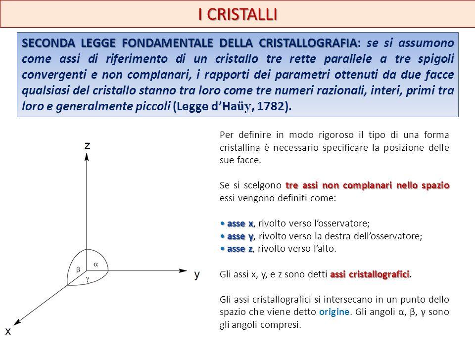 I CRISTALLI SECONDA LEGGE FONDAMENTALE DELLA CRISTALLOGRAFIA SECONDA LEGGE FONDAMENTALE DELLA CRISTALLOGRAFIA: se si assumono come assi di riferimento