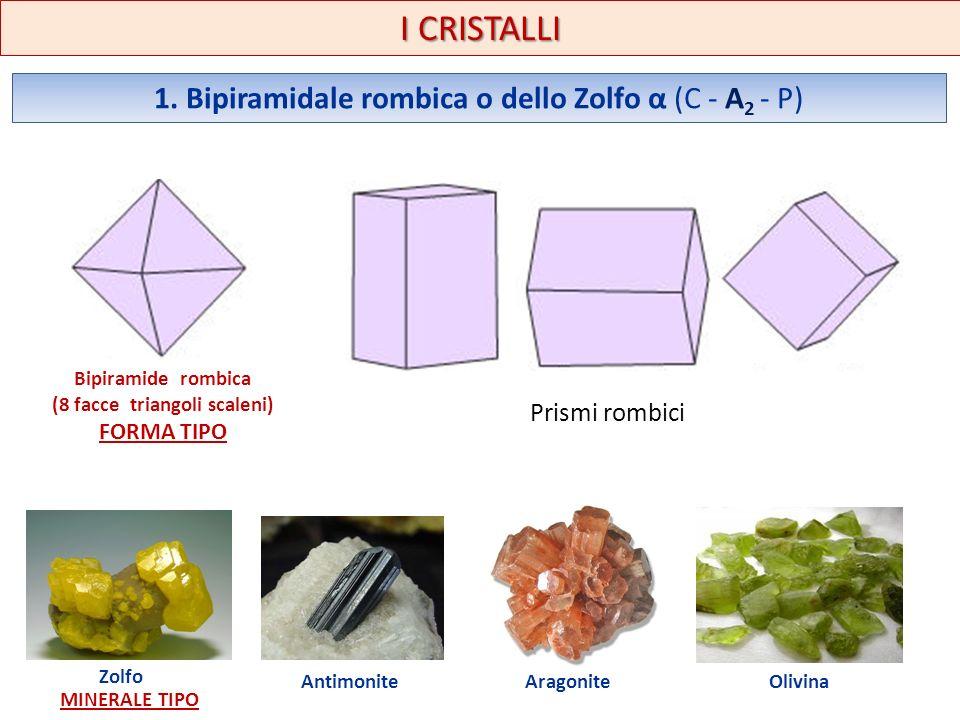 I CRISTALLI 1. Bipiramidale rombica o dello Zolfo α (C - A 2 - P) Bipiramide rombica (8 facce triangoli scaleni) FORMA TIPO Prismi rombici Zolfo MINER