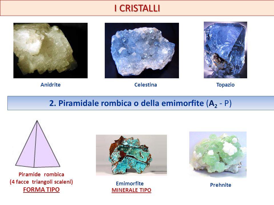 I CRISTALLI AnidriteCelestinaTopazio 2. Piramidale rombica o della emimorfite (A 2 - P) Piramide rombica (4 facce triangoli scaleni) FORMA TIPO Emimor
