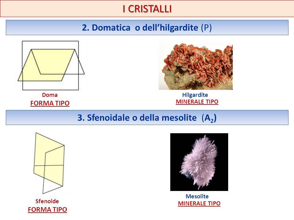 I CRISTALLI 2. Domatica o dellhilgardite (P) 3. Sfenoidale o della mesolite (A 2 ) Doma FORMA TIPO Sfenoide FORMA TIPO Hilgardite MINERALE TIPO Mesoli