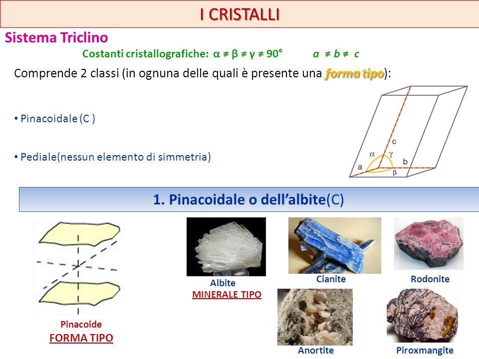 I CRISTALLI Sistema Triclino forma tipo Comprende 2 classi (in ognuna delle quali è presente una forma tipo): Pinacoidale (C ) Pediale(nessun elemento