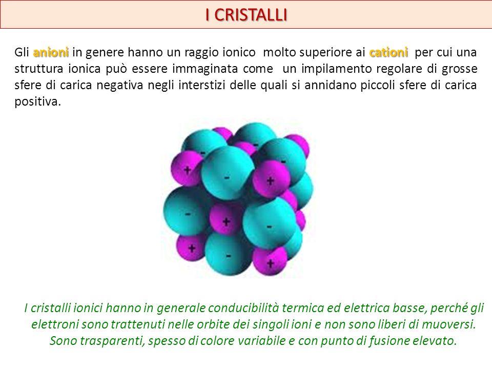I CRISTALLI anionicationi Gli anioni in genere hanno un raggio ionico molto superiore ai cationi per cui una struttura ionica può essere immaginata co