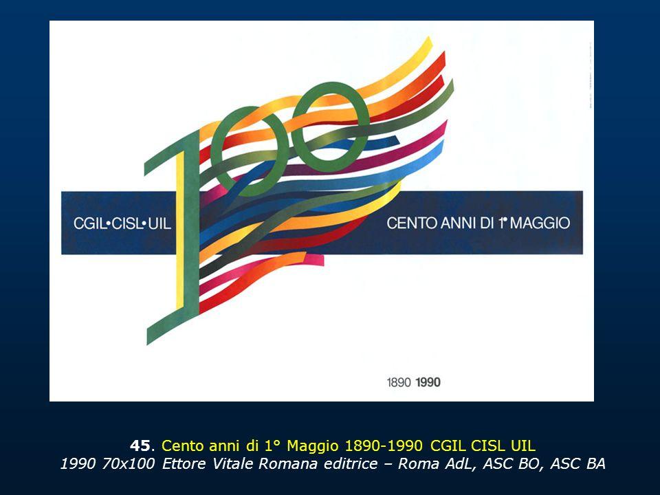 45. Cento anni di 1° Maggio 1890-1990 CGIL CISL UIL 1990 70x100 Ettore Vitale Romana editrice – Roma AdL, ASC BO, ASC BA