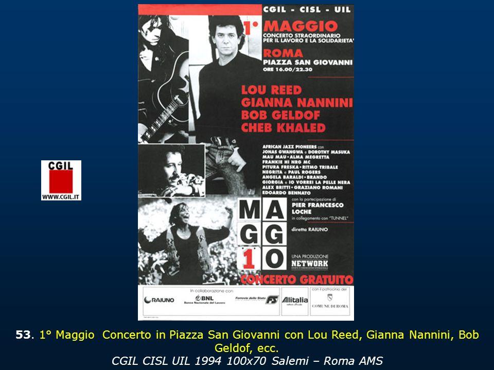 53.1° Maggio Concerto in Piazza San Giovanni con Lou Reed, Gianna Nannini, Bob Geldof, ecc.