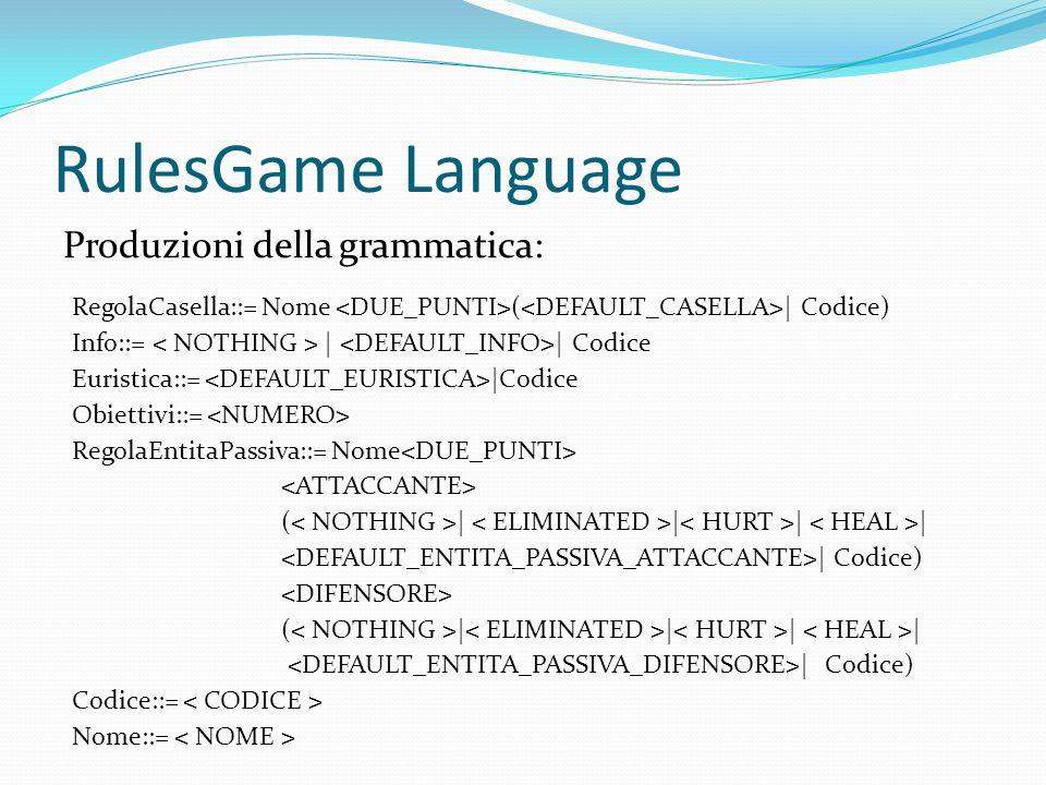 RulesGame Language Produzioni della grammatica: RegolaCasella::= Nome ( | Codice) Info::= | | Codice Euristica::= |Codice Obiettivi::= RegolaEntitaPassiva::= Nome ( | | | | | Codice) ( | | | | | Codice) Codice::= Nome::=
