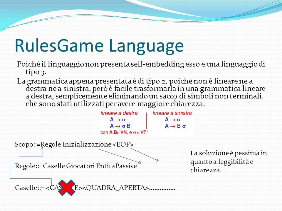 RulesGame Language Poiché il linguaggio non presenta self-embedding esso è una linguaggio di tipo 3.