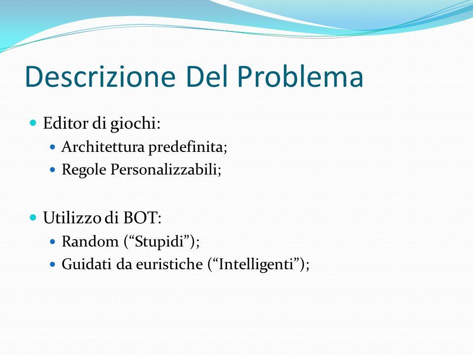 Descrizione Del Problema Editor di giochi: Architettura predefinita; Regole Personalizzabili; Utilizzo di BOT: Random (Stupidi); Guidati da euristiche (Intelligenti);
