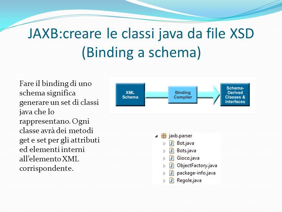 JAXB:creare le classi java da file XSD (Binding a schema) Fare il binding di uno schema significa generare un set di classi java che lo rappresentano.