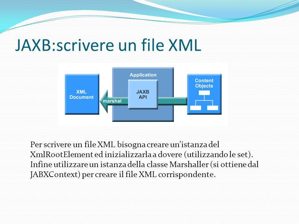 JAXB:scrivere un file XML Per scrivere un file XML bisogna creare unistanza del XmlRootElement ed inizializzarla a dovere (utilizzando le set).