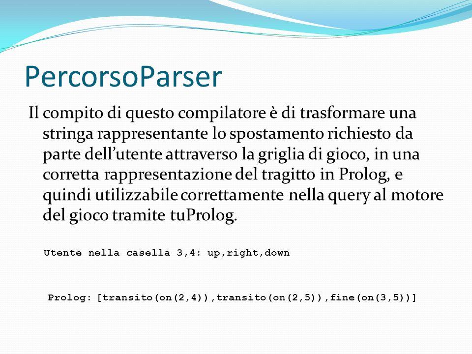 PercorsoParser Il compito di questo compilatore è di trasformare una stringa rappresentante lo spostamento richiesto da parte dellutente attraverso la griglia di gioco, in una corretta rappresentazione del tragitto in Prolog, e quindi utilizzabile correttamente nella query al motore del gioco tramite tuProlog.