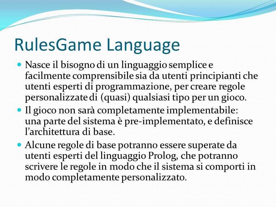 RulesGame Language Nasce il bisogno di un linguaggio semplice e facilmente comprensibile sia da utenti principianti che utenti esperti di programmazione, per creare regole personalizzate di (quasi) qualsiasi tipo per un gioco.