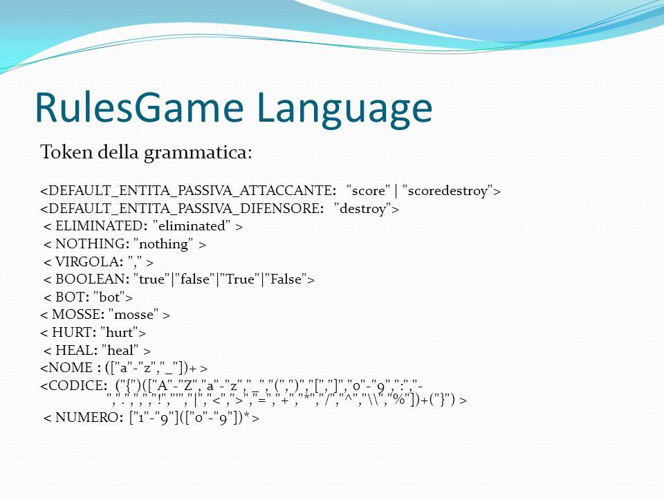 RulesGame Language Token della grammatica: , = , + , * , / , ^ , \\ , % ])+( } ) >