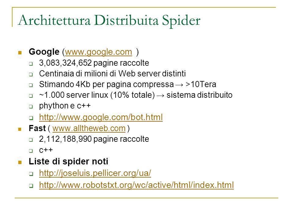 Architettura Distribuita Spider Google (www.google.com )www.google.com 3,083,324,652 pagine raccolte Centinaia di milioni di Web server distinti Stima