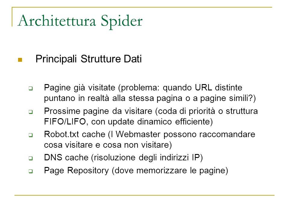 Architettura Spider Principali Strutture Dati Pagine già visitate (problema: quando URL distinte puntano in realtà alla stessa pagina o a pagine simil