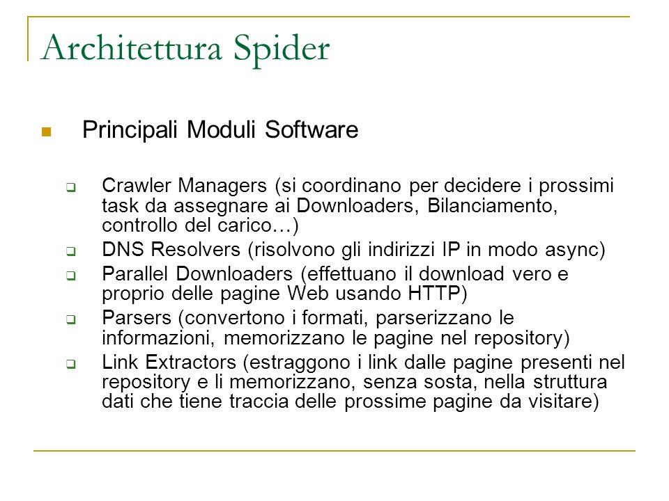 Architettura Spider Principali Moduli Software Crawler Managers (si coordinano per decidere i prossimi task da assegnare ai Downloaders, Bilanciamento