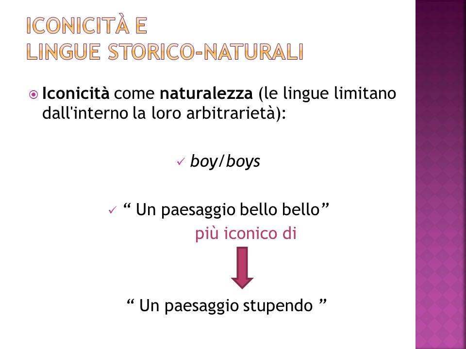 Iconicità come naturalezza (le lingue limitano dall'interno la loro arbitrarietà): boy/boys Un paesaggio bello bello più iconico di Un paesaggio stupe
