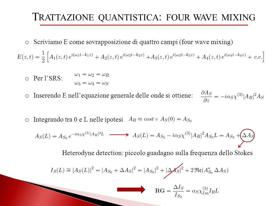 T RATTAZIONE QUANTISTICA : FOUR WAVE MIXING o Scriviamo E come sovrapposizione di quattro campi (four wave mixing) o Inserendo E nellequazione general