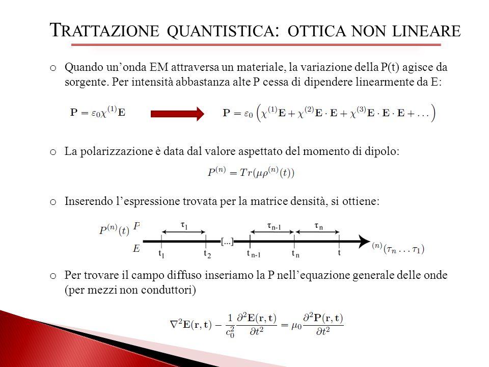 T RATTAZIONE QUANTISTICA : OTTICA NON LINEARE o Quando unonda EM attraversa un materiale, la variazione della P(t) agisce da sorgente. Per intensità a