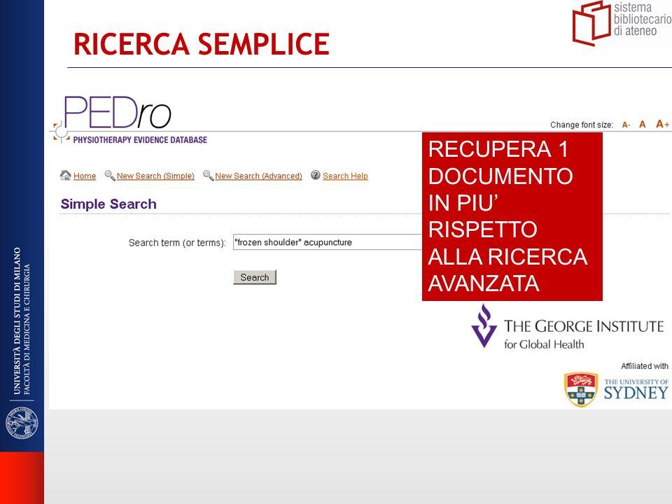 RICERCA SEMPLICE RECUPERA 1 DOCUMENTO IN PIU RISPETTO ALLA RICERCA AVANZATA
