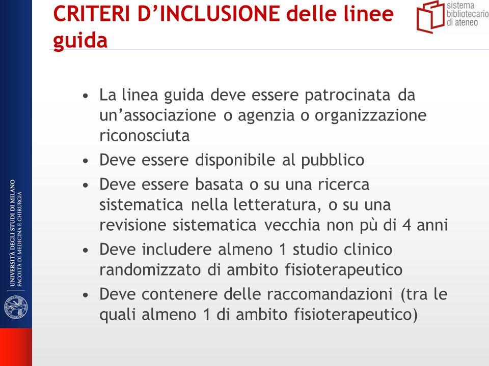 CRITERI DINCLUSIONE delle linee guida La linea guida deve essere patrocinata da unassociazione o agenzia o organizzazione riconosciuta Deve essere dis