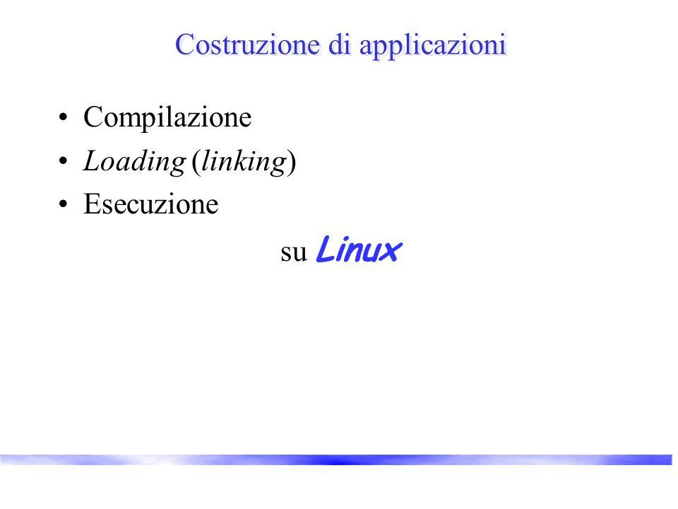 Costruzione di applicazioni Compilazione Loading (linking) Esecuzione su Linux
