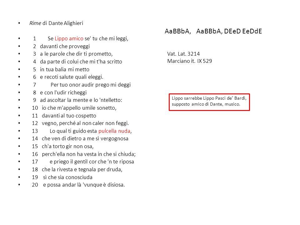 IL CODICE BARDERA Ernesto Lamma comunica nel 1885 di avere avuto occasione di vedere un manoscritto di poche carte di proprietà di Giovanni Bardera datato 1491 che conteneva rime di poeti antichi.