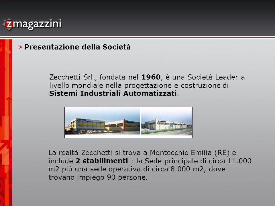 Zecchetti Srl., fondata nel 1960, è una Società Leader a livello mondiale nella progettazione e costruzione di Sistemi Industriali Automatizzati. > Pr