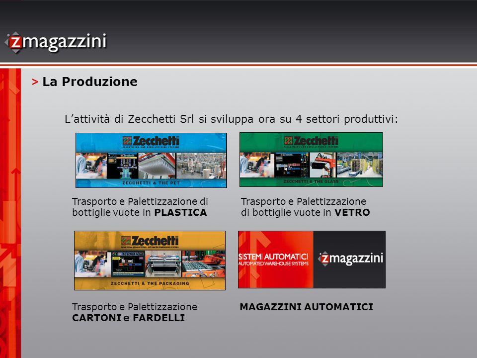 Lattività di Zecchetti Srl si sviluppa ora su 4 settori produttivi: > La Produzione Trasporto e Palettizzazione di bottiglie vuote in PLASTICA Traspor