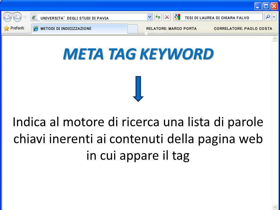 META TAG KEYWORD Indica al motore di ricerca una lista di parole chiavi inerenti ai contenuti della pagina web in cui appare il tag