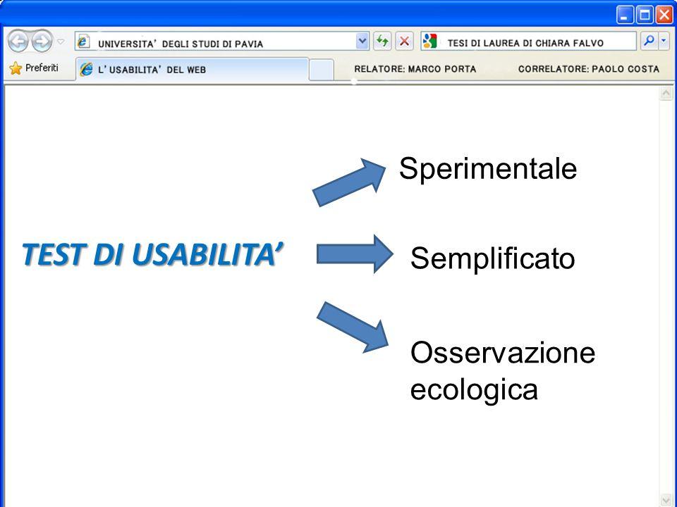 TEST DI USABILITA Sperimentale Semplificato Osservazione ecologica