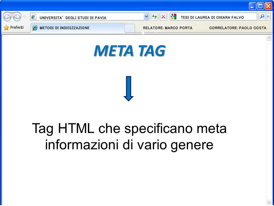META TAG Tag HTML che specificano meta informazioni di vario genere
